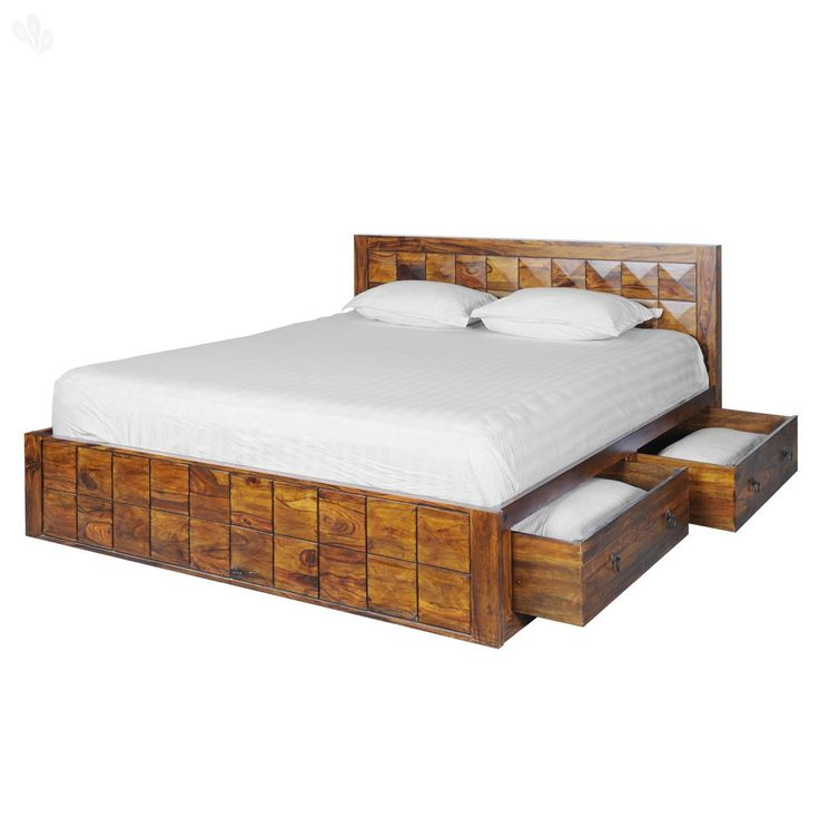 Royal Oak Shire Bd20171001 5s Queen Size Bed With Storage Honey Brown