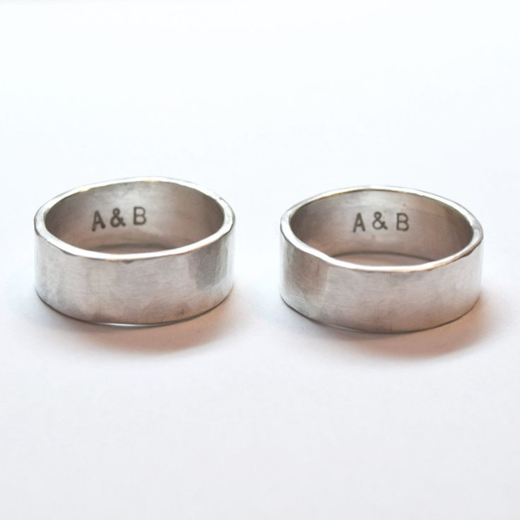 Silver Hammered Men's Ring, Wedding Bands With short Inscription, Handmade Silver Men's Ring Gay rings Wedding