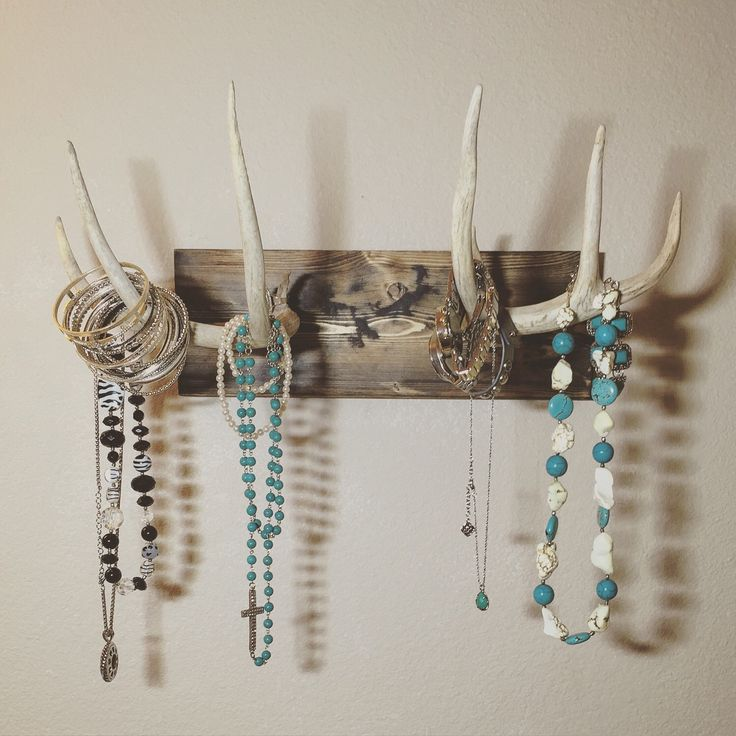 mounted antler jewelry holder, real deer antler, jewelry ...
