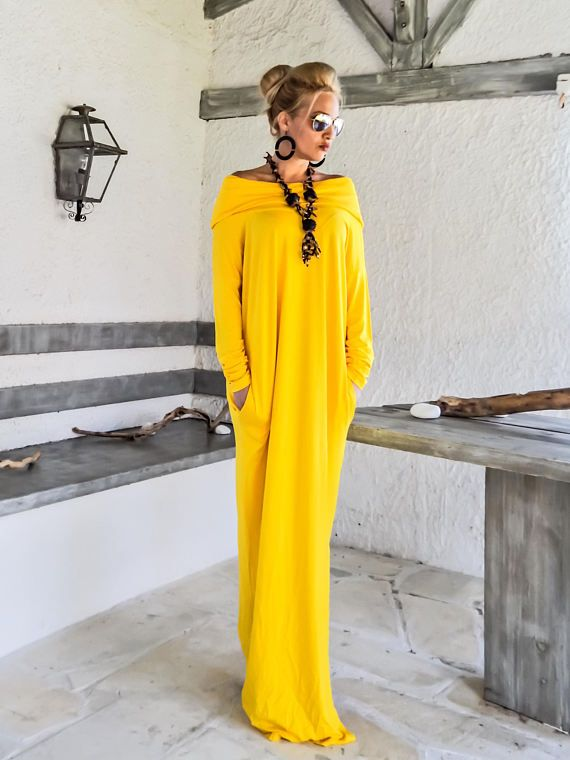 Yellow Maxi Long Sleeve Turtleneck Dress with pockets / Yellow