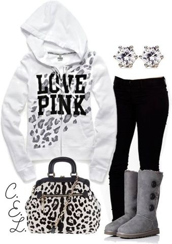 Love Pink. White & black outfit.