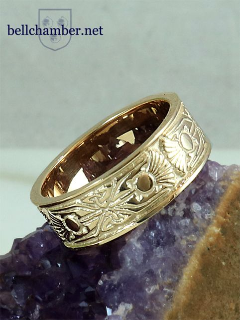 Art Nouveau Thistle ring in sold 14K yellow gold.  $995 USD