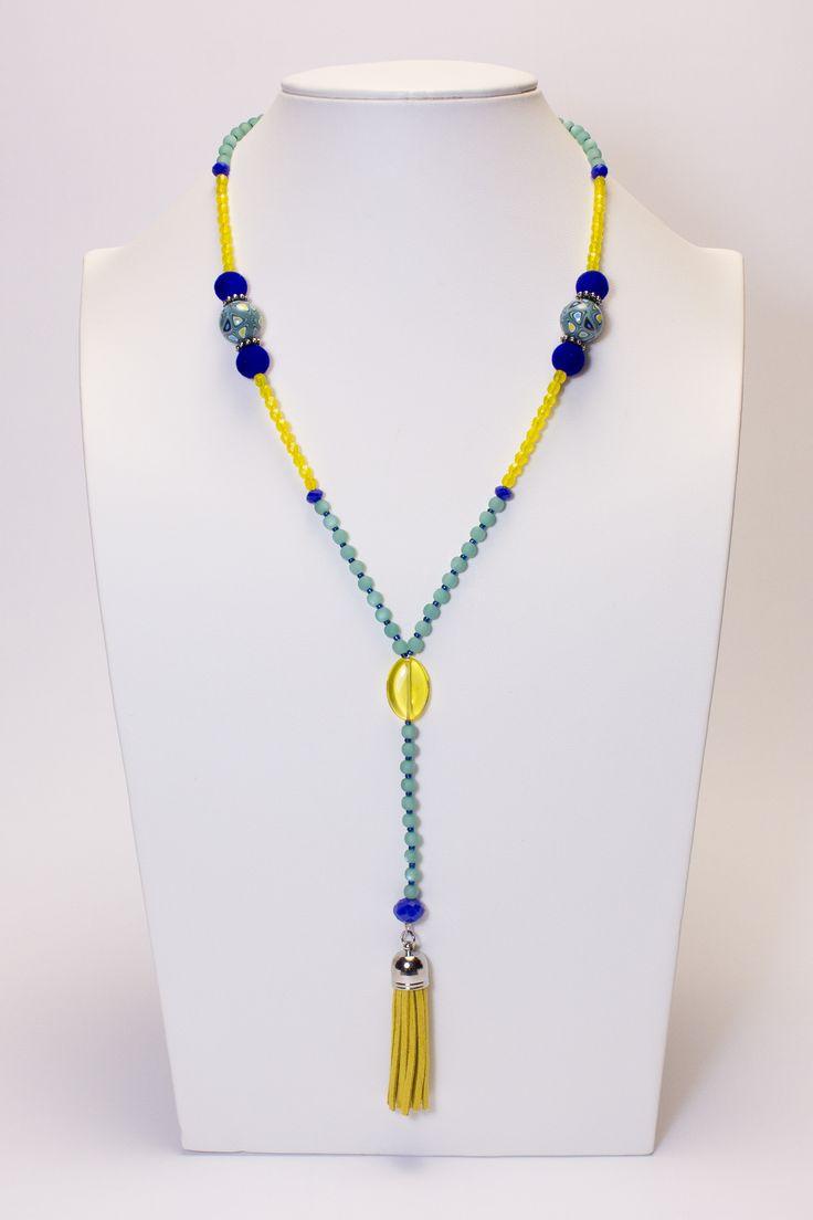 Collier vert-jaune-bleu pompon jaune #gadhorre #jewelry