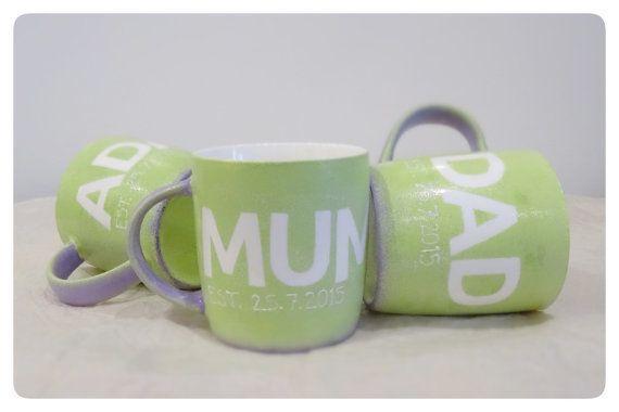 Set of 3 mugs for new parents, new baby, mum and dad mug, customised mugs £33.95