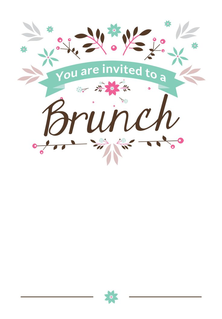 Flat Floral - Free Printable Brunch Invitation Template Greetings