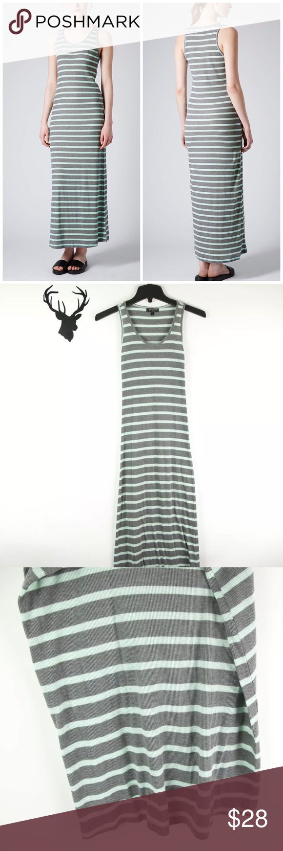 """Topshop Mint & Gray Striped Ribber Maxi Dress TOPSHOP Stripe Ribbed Maxi Dress in mint & gray Casual. US Size 0. Perfect casual summer dress! Excellent pre-loved condition!  All measurements taken laying flat Approx. 12"""" armpit to armpit Approx. 50"""" L from shoulder seam to hem  🚫no trades 🚫no modeling ✅dog friendly/🚭smoke free home ✅reasonable offers ✅bundle & save! Topshop Dresses Maxi"""