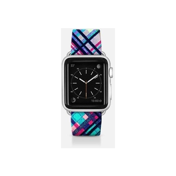 Apple Watch Band - Colorful Bohemian Hipster Plaid Pattern ($70) ❤ liked on Polyvore featuring jewelry, watches, apple watch band, boho chic jewelry, hipster jewelry, multi color jewelry, hipster watches and boho jewelry