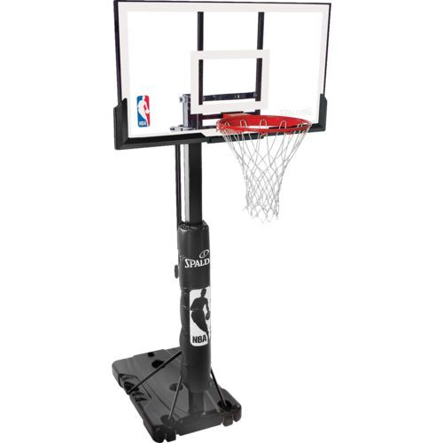 The Spalding Ultimate Hybrid Portable Basketball System Features A 54 Glass Backboard And An Ultim Portable Basketball Hoop Basketball Systems Basketball Hoop