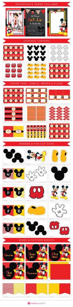 Mickey mouse Invitation, Mickey mouse invite, Mickey invitation, Mickey Invite…