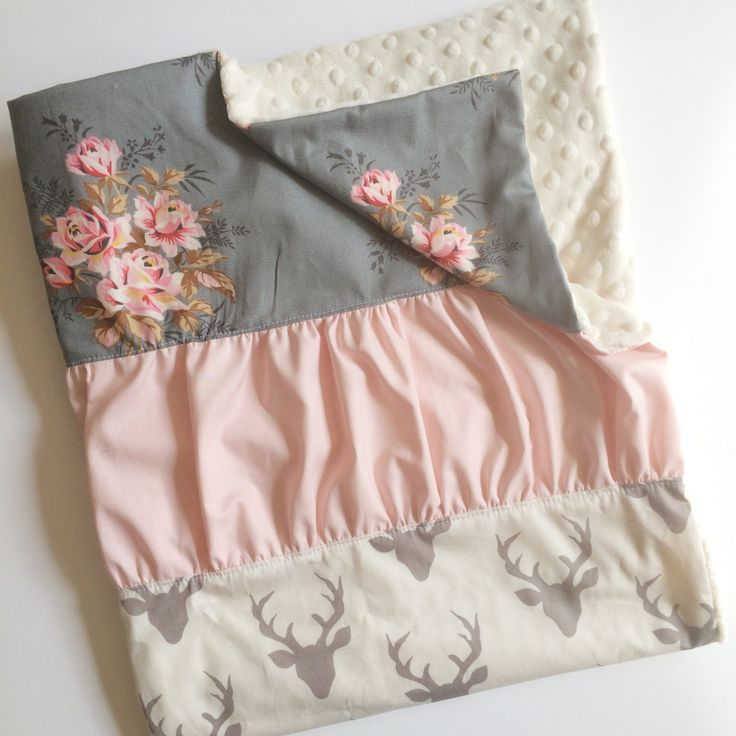 Floral Deer Ruffle Quilt - Baby Girl Woodland Antler Stroller Cotton Blanket - ruffled + ivory minky + personalized embroidered Handmade by Dot Dot Baby / Jes Hoyda / Tulsa Oklahoma / Etsy
