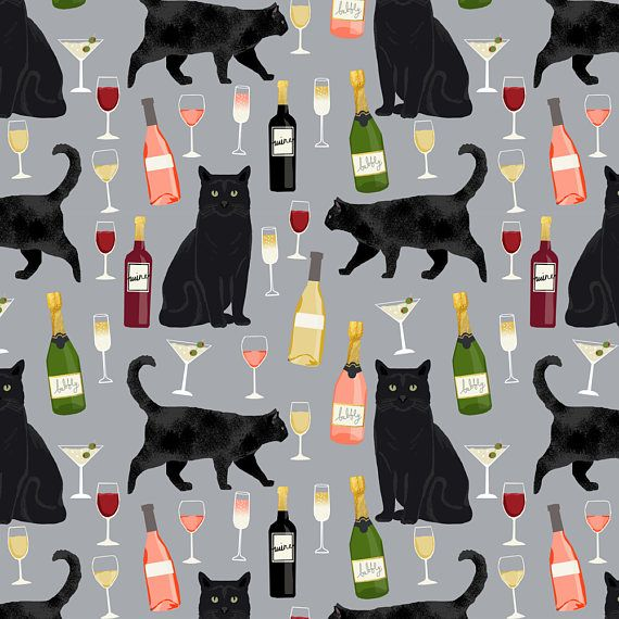 1 yard (or 1 fat quarter) of black cat wine fabric cute rose and cats fabric kitty cat fabric cat lady fabric - grey by designer petfriendly. Printed on Organic Cotton Knit, Linen Cotton Canvas, Organic Cotton Sateen, Kona Cotton, Basic Cotton Ultra, Cotton Poplin, Minky, Fleece, or Satin fabric.  Available in yards and quarter yards (fat quarter). This fabric is digitally printed on demand as orders are placed. Unlike conventional textile manufacturing, very little waste of fabric, ink…