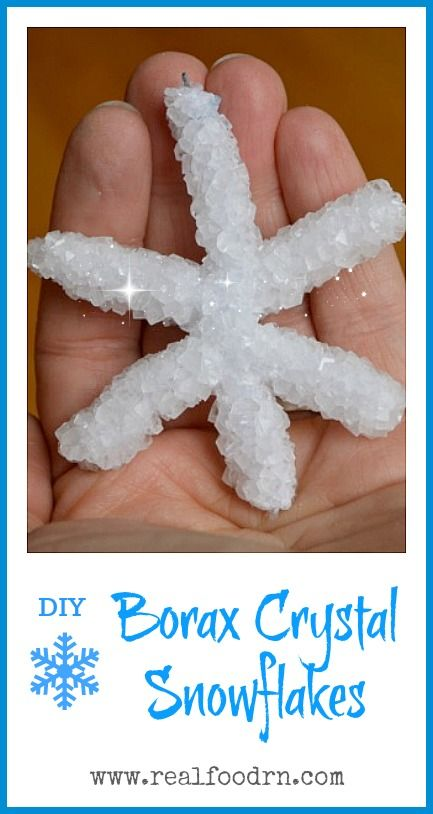 How to Make Borax Crystal Snowflakes. A really fun and easy project to do with the kids! We made snowflakes and larger crystal sculptures. Plus its a great science lesson for homeschool! realfoodrn.com #boraxcrystals #homeschoolscience