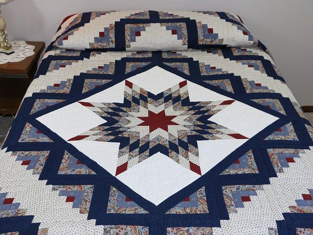 Lone Star Log Cabin Quilt — terrific made with ca…