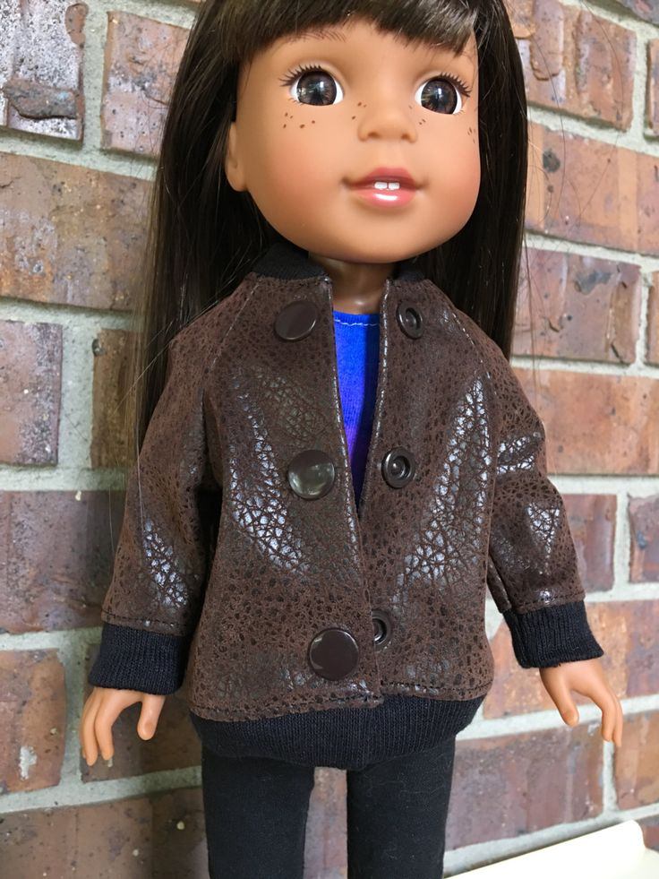 Faux brown leather jacket made to fit Wellie wisher doll by EllasThreads on Etsy