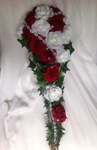 Neu Brautstrauss Edel Wasserfall Rosen Rot Weiss Hochzeit Perlen Amp