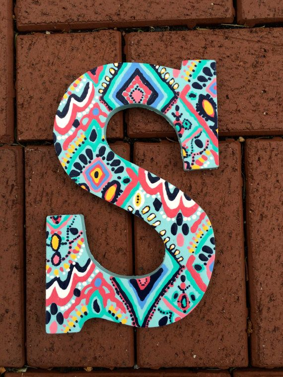 hand painted lilly pulitzer inspired wooden letter s in crown jewels by preppylillypatterns cute