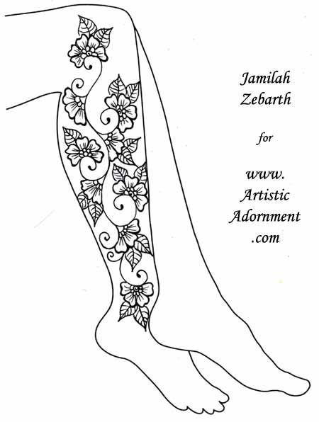 These beautiful leg henna designs were created by Jamilah Zebarth as ...