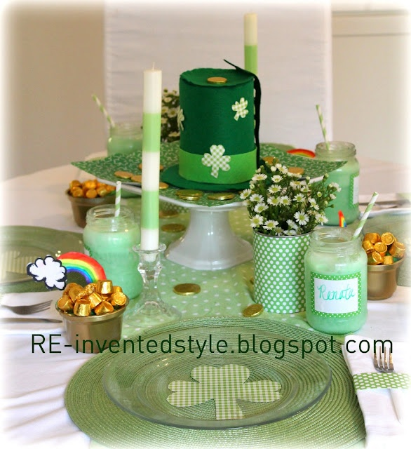 St. Patrick's Day table using a lot of recycled items (cans, bottles, jars, yogurt cups) and crafts for decor