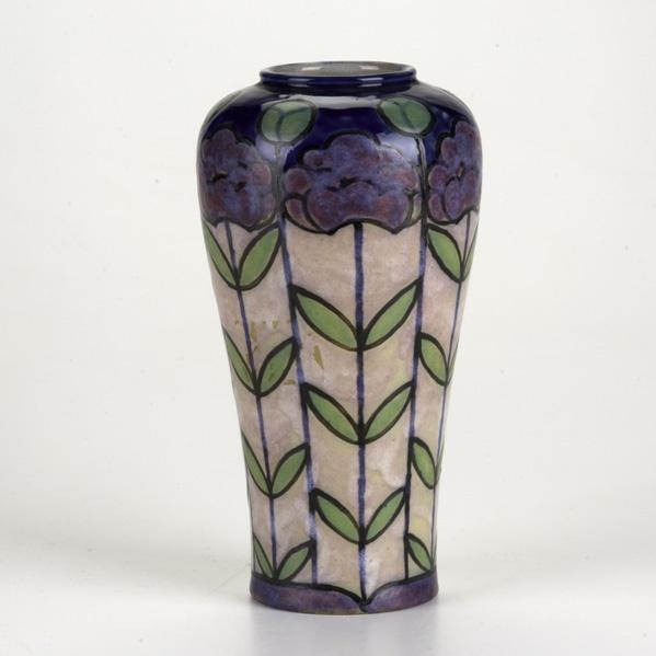 BESSIE NEWBERRY  ROYAL DOULTON  Stoneware vase with enameled floral decoration, England, c.1930