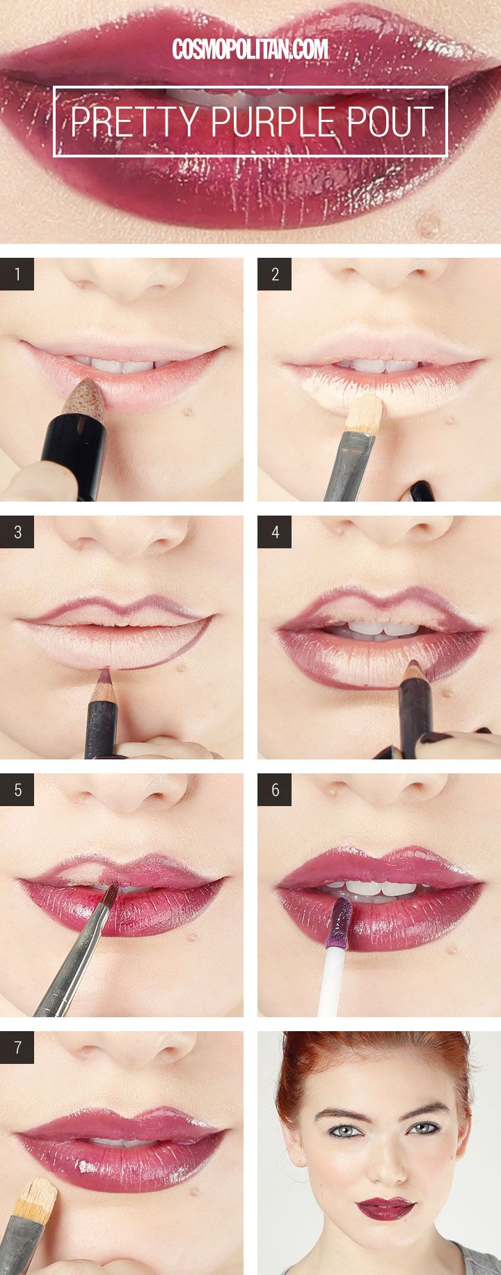 Click through and learn how to get a super sexy dark purple lip.