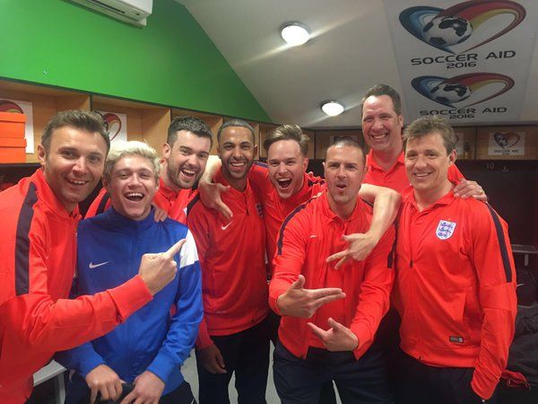 Paddy McGuinness tweeted this:  Can't wait for the game on Sunday at Old Trafford. #SoccerAid
