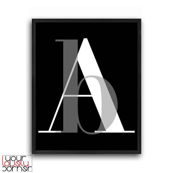 Letters typography Letter art print Letter poster