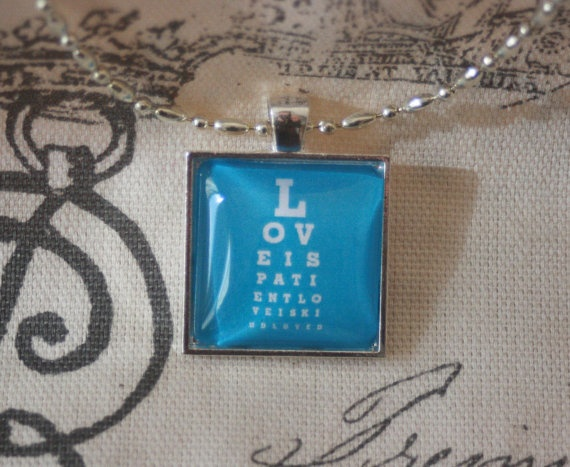 Eye Chart Pendant Necklace Love is Patient by CreativeIndependant, $18.00