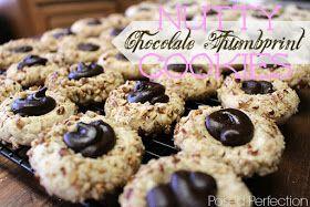 Nutty Chocolate Fudge Thumbprint Cookies