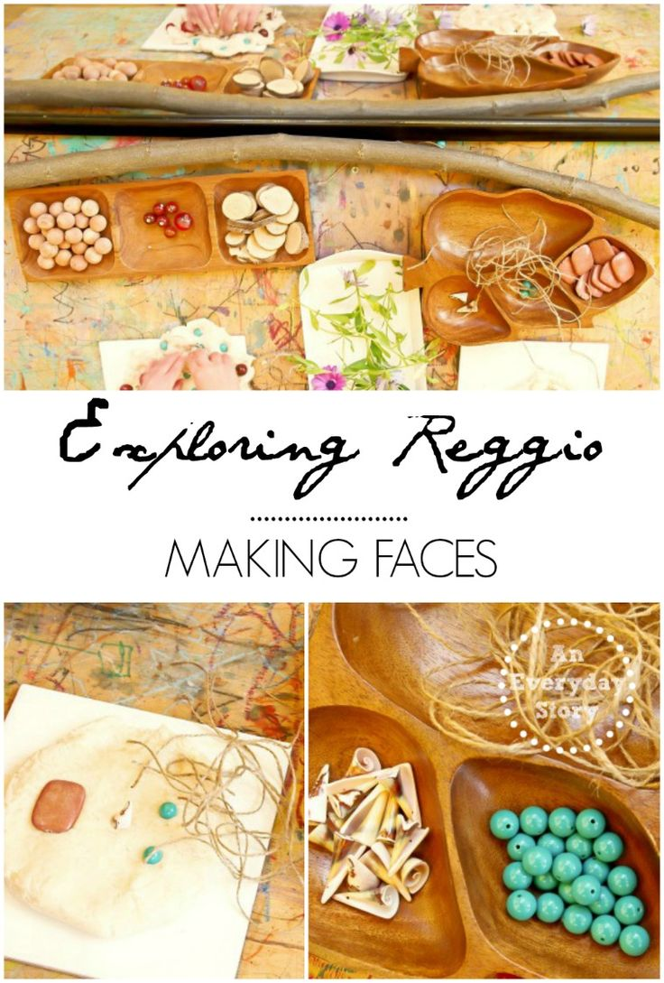 Exploring Reggio Series: Making faces - Using natural playdough and interestingly textured loose materials, we explored faces. {from An Everyday Story}
