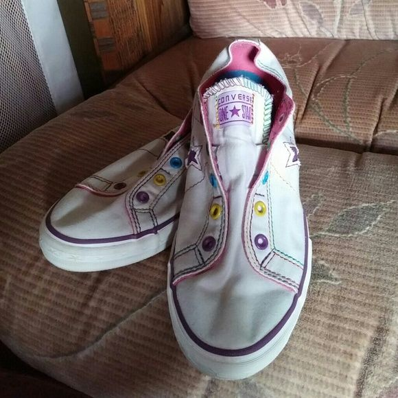 White Multi-color Converse Shoes Slip on, worn once, a little off color on back but that's it Converse Shoes