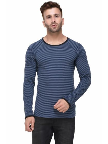 104e399b Steel Grey & Black Striped Full Sleeve T-shirt | A-ValueStore ...