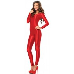 Long Sleeve Spandex Catsuit - New at GothicPlus.com Price: $38.50  Spandex catsuit hugs your curves like a second skin with simple scoop neck and long sleeves. In red or black it is a versatile piece as clothing or costume.  Other items shown sold separately.  #gothic #fashion #steampunk