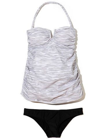 Take a dip in an animal print bandeau tankini from Liz Lange at Target. (top, $25; bottom, $20)