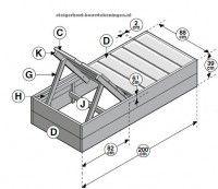 Doe het zelf tuinbed op bouwtekening, ligbed maken van gerecyclede planken.