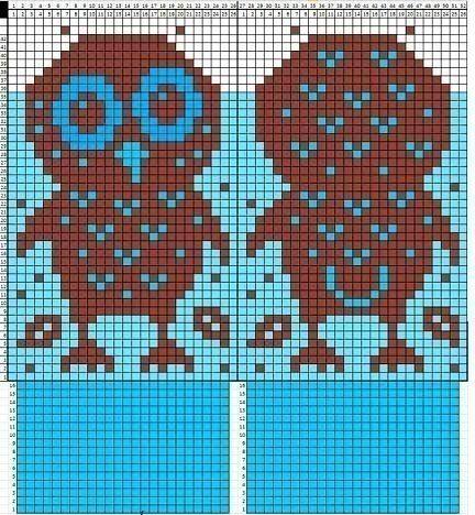 Совы на варежках.Схема SKRMASTER.BY — Handmade ярмарка Беларусь
