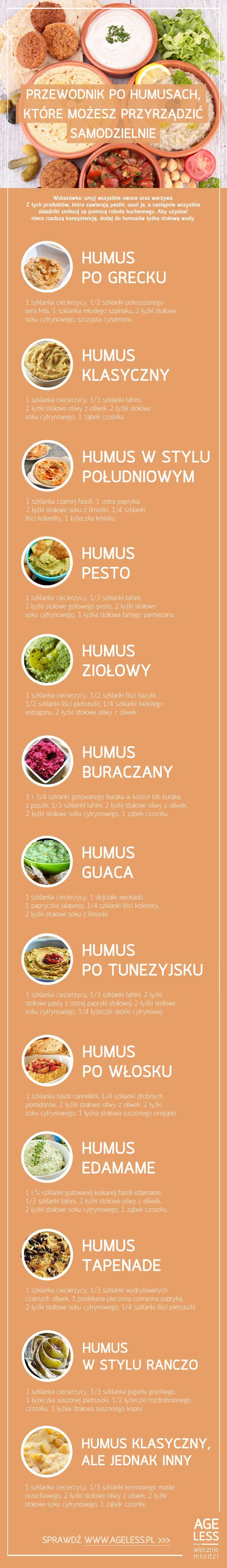 Na pewno słyszeliście o humusach i pewnie część z Was już jadła pieczywo smarowane tą pyszną pastą z ciecierzycy. Ale czy próbowaliście przygotować humus samodzielnie? Oto krótkie przepisy na kilkanaście z nich – przygotowanie ich jest naprawdę banalne.  #ageless www.ageless.pl #wiecznamlodosc #wieczniemlodzi #humus #ciecierzyca #pasta