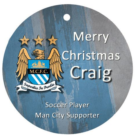 Personalised Christmas Tree Ornament, Soccer Manchester City