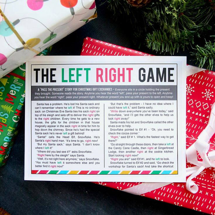 The LEFT RIGHT game is so much fun to play at Christmas gift exchanges! Download the free story to play this easy game that will have everyone laughing.
