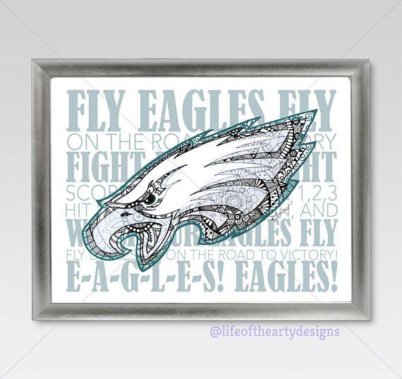 Philadelphia Eagles Logo with Fight Song Print/Home Decor