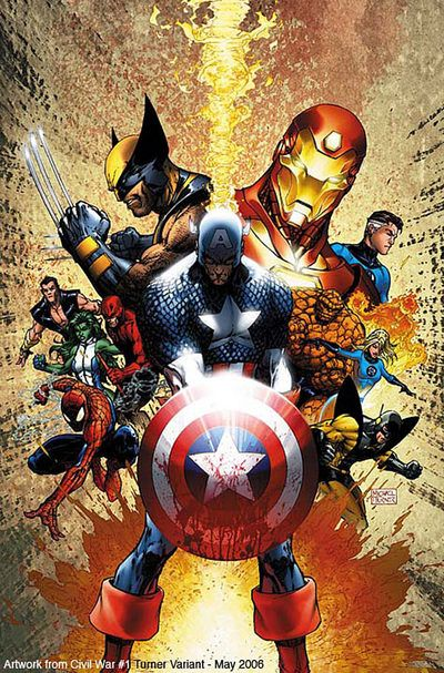 Civil War #1 - Michael turnerCivil Wars, Comics Book, Captain America, Marvel Comics, Michael Turner, Superheroes, Super Heroes, The Avengers, Marvel Heroes