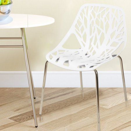 Adeco Trading Stacking Dining Side Chair (Set of 2), White
