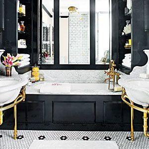 65 Calming Bathroom Retreats | Add a Little Sparkle | SouthernLiving.com. Colors, shelves, flooring