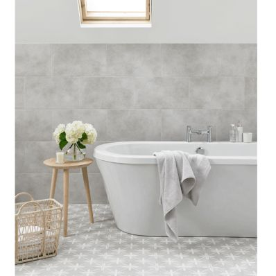 Bathroom Floor tiles in grey from Laura Ashley.
