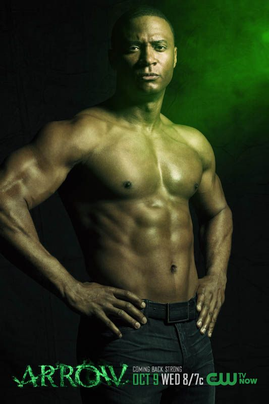"David Ramsey as entirely shirtless John Diggle. | New Promo Posters Show ""Arrow"" Really Understands Their Audience"