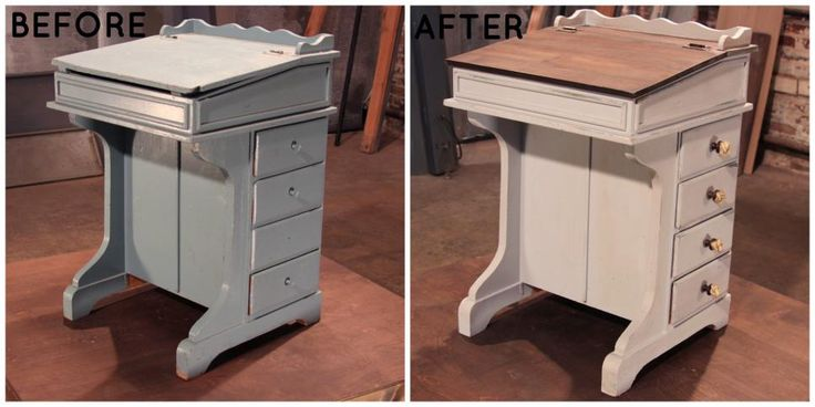 A captain's desk from a ship is converted into a shabby-chic writing desk thanks to a paint job and new drawer knobs.