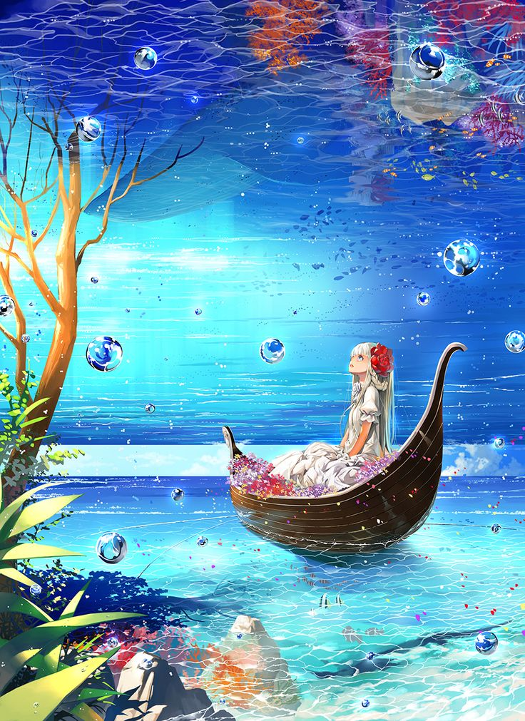✮ ANIME ART ✮ anime scenery. . .underwater. . .boat. . .trees. . .nature. . .bubbles. . .anime girl. . .reflections. . .colorful. . .fantasy. . .illusion. . .kawaii