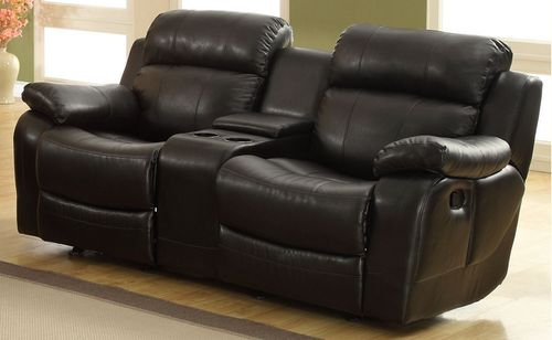 Homelegance Marille Collection Black Bonded Leather Reclining Loveseat 9724BLK-2