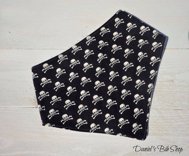Handmade Black & White Skulls baby bandana bib