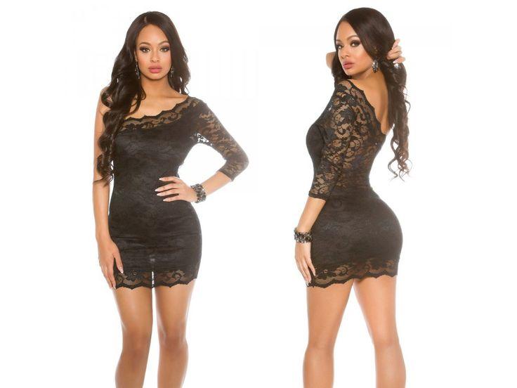 Černé krajkové šaty Koucla, RYCHLÉ DODÁNÍ - Bestmoda - black lace party eveving dress