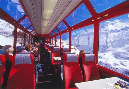 Glacier Express, one of the best train rides in the world, huge windows to take in the most breath taking views in Switzerland